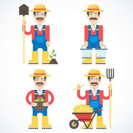 agrarian: Set of funny friendly farmers standing in the different poses with different domestic stuff.  Illustration