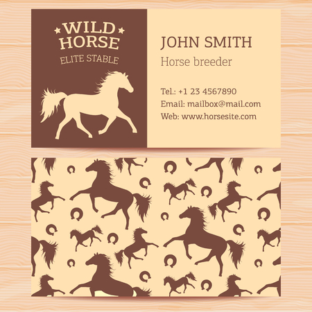 contact information: Business cards with horses for horse stables contact information and representatives.