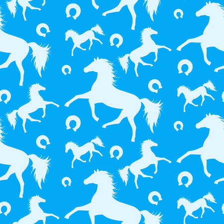 mustang horse: Seamless pattern with running horses.