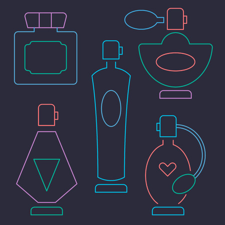 performed: Set of perfume line icons performed in a neo.n color.  Illustration