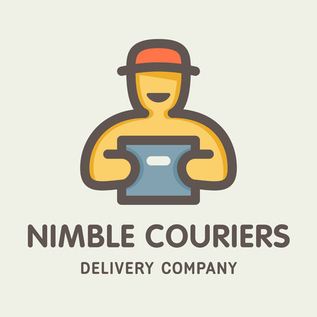 nimble: Nimble couriers logotype with the man and packcage icon in a line modern style. Ready for use logotype for delivery company.  Illustration