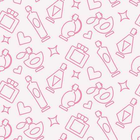 scent: Perfume seamless patterm made from line perfume icons. Fully editable illustration.
