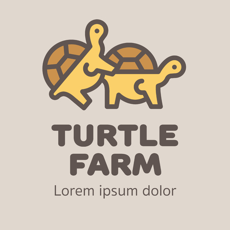 animal sex: Logotype with two turtles for turtle or pet farm. Ready for use.