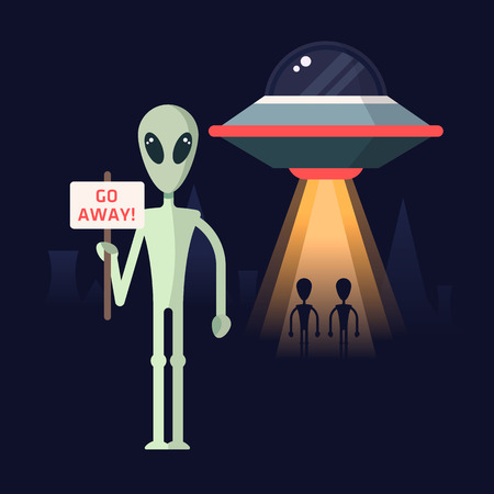 colonization: Alien with the protest template against mars colonization. Spaceship and aliens on a back.  Illustration