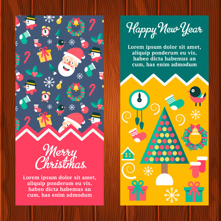 omela: Merry christmas and happy new year winter banners with santa and christmas tree.  Illustration