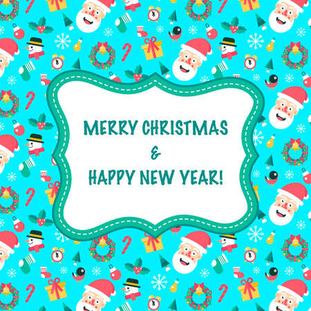 Merry christmas and happy new yaer greeting card with set of holidays symbols.