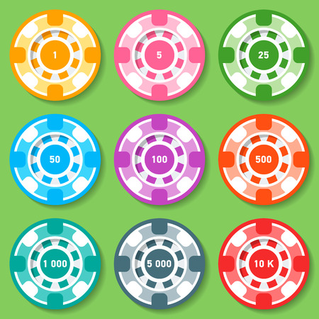 toke: Set of different type and nomination casino chips. icons and illustration.
