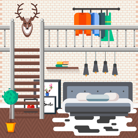Cozy comfortable modern loft bed room with convinient king size bed and pillows, fashioned styled lamps, book on  shelve, painting, stylish stairs, hanger with dresses, brick wall. illustration Illustration