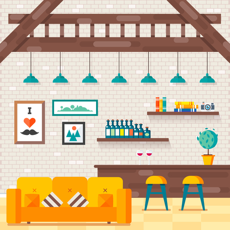fully editable: Cozy comfortable modern loft living room with convinient sofa and decorative pillows, fashioned styled lamps, books on  shelves, alcohol bar, dinner table, brick wall. illustration, fully editable.