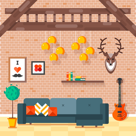 shelve: Cozy comfortable modern loft living room with convenient sofa and decorative pillows, hipster styled red guitar, books on a shelve, and deer head on a brick wall. illustration.