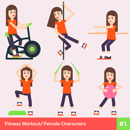 indoor sport: Set of six fitness female characters doing the last trends of sport life. Pretty sporty healthy girls are doing indoor exercises in the gym class.