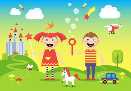 Das Bild der glücklichen, unbeschwerten Jungen und Mädchen bei den magischen Hügel in der Nähe der fantastischen Burg stand.