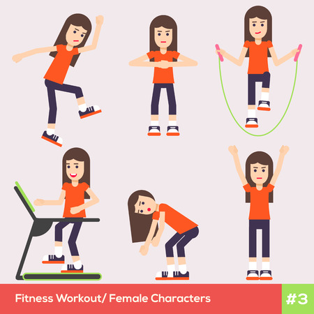 barre: Set of six fitness female characters doing the last trends of sport life. Pretty sporty healthy girls are doing indoor exercises in the gym class. Fully easy editable flat illustration. Illustration