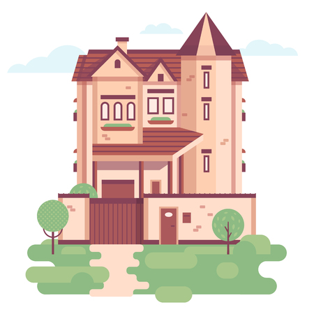 garage doors: The illustration of village private house. Building with three floors and garage doors. Flat style illustration.
