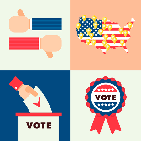 republicans: Set of traditional national elements for USA election 2016. Map of America with online geo tags, national flag and ribbon sign, hands with voting box.