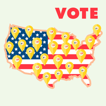 republicans: Map of USA with the national flag as a backdrop presented geo tags with the presidential election results. Hands with yes and no signs. Illustration