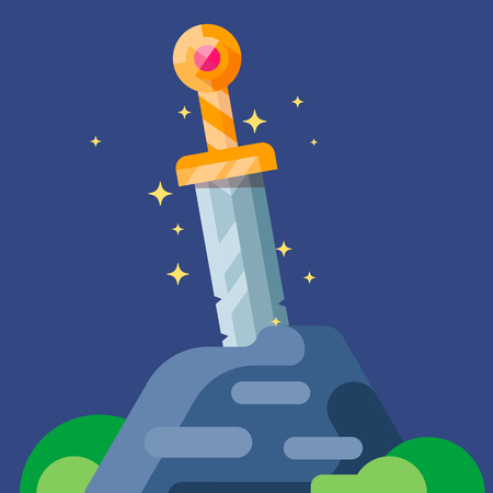 medieval blacksmith: Ancient sword in the stone. Illustration for games, web application. Illustration