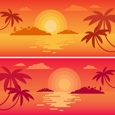 sunrise ocean: The concept of happy calm traveling to the lonely ocean islands. Beautiful colorful sunset or sunrise in the sea, surrounded by tropical palms.