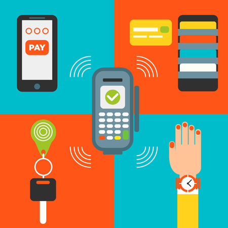 smart card: The set of icons for contacless payment concept: pos terminal, smart watch with the payment chip, keys, credit card and smartphone.