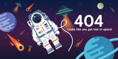 Le concept de la page Web d'erreur 404 avec austronaut dans l'espace ouvert entre les différentes palnets, les comètes, les étoiles et les vaisseaux spatiaux. Très bonne idée. Parfait pour les sites sous constructions. Banque d'images - 57143627