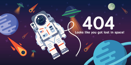 The concept of 404 error web page with austronaut in the open space between different palnets, comets, stars and space ships. Very good idea. Perfect for sites under constructions. Фото со стока - 57143627
