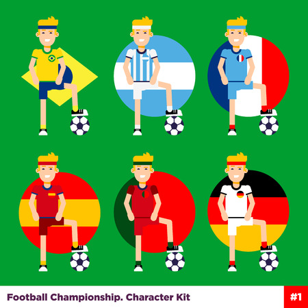 first form: Soccer, european football flat characters set. Six players standing with the ball under the foot on the national flag background. Easy to edit illustration. Text can be simply removed.