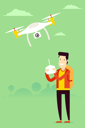 recording: Remote aerial drone with a camera taking photography or video recording and man with the remote control managing copter. art on isolated background. Flat design.