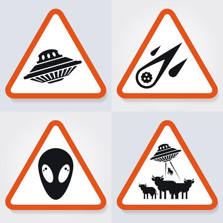 Conjunto de placas de advertencia con objetos ufo, nave espacial, cometa, extranjeros. Buena idea y el concepto de ilustraciones web. Ilustración de vector