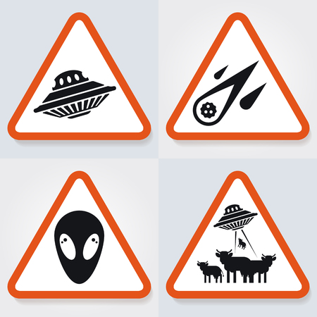 Set of warning plates with ufo objects, spaceship, comet, aliens. Good idea and concept for web illustrations.