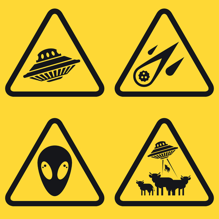 51: Set of warning plates with ufo objects, spaceship, comet, aliens. Good idea and concept for web illustrations. Vector, flat icons. Very easy to edit.