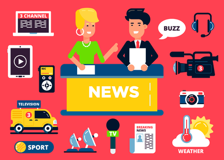 record breaking: News design concept set of flat icons: notebook, tablet, phones, special car, phoneheads, microphone, photocamera, videocamera, chat and two characters. Vector flat illustration. Text could be easily removed.