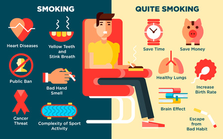 harm: Smoking design concept set with harm and danger flat icons isolated vector illustration Illustration