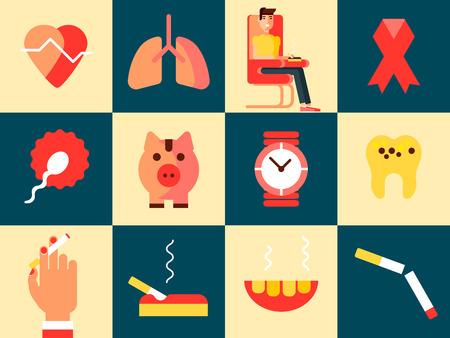 L'insieme di concetto di progetto di fumo con le icone piane del pericolo e di danno ha isolato l'illustrazione di vettore. Vettoriali