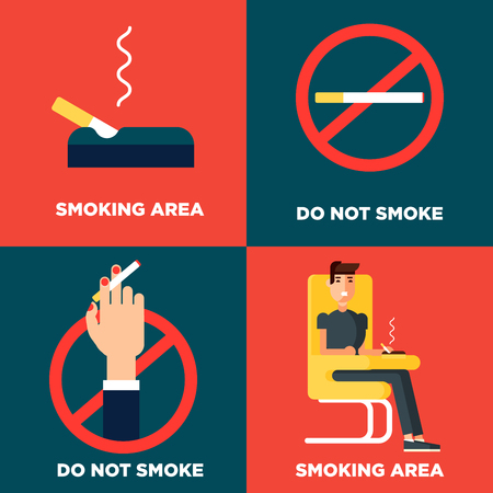 bad service: Smoking design concept set with smoking area and forbiden for smokers area flat icons isolated vector illustration