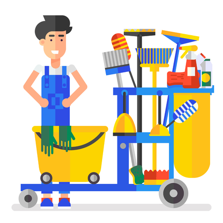 carpet cleaning service design: Young charman character with the service professional bucket full of cleaning stuff. Good business idea, modern character, flat, vector illustration. Very easy to edit.