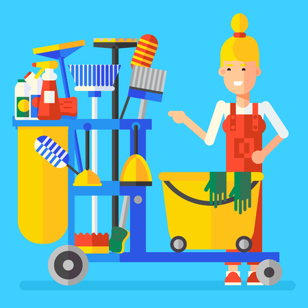 cleaning crew: Young charwoman character with the service professional bucket full of cleaning stuff. Good business idea, modern character, flat, vector illustration. Very easy to edit. Illustration
