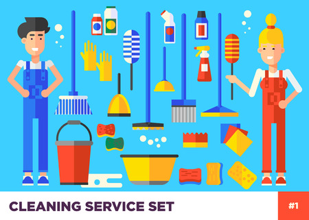 cleaning crew: Young vector cleaning staff characters with cleaning equipment in trendy flat design. Friendly smiling adult janitor workers. Many different cleaning icons. Easy to edit illustration. Illustration