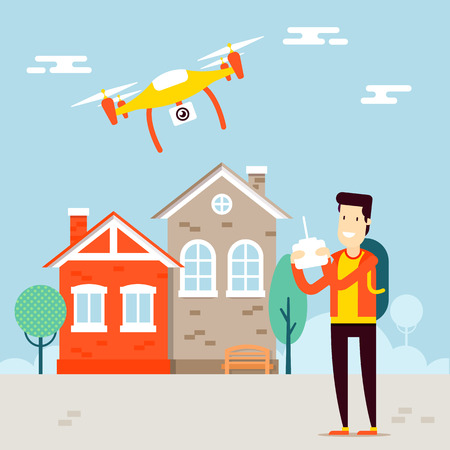 managing: The concept of video vloging with the drone video capture. Flying copter managing by the man character. Outdoor view. Vector flat illustration. Very easy to edit.