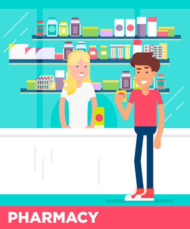 pharmacy store: Modern flat characters of two young people in the pharmacy store. Saleswoman consulting client. Vector flat illustration. Easy to edit. Great colors.
