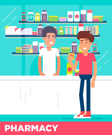 pharmacy store: Modern flat characters of two young men in the pharmacy store. Afroamerican salesman consulting his european client. Vector flat illustration. Easy to edit. Great colors.