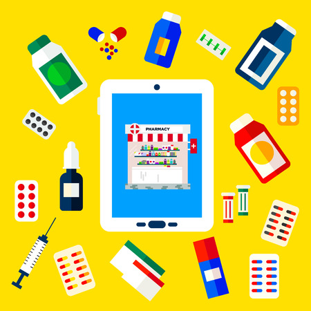 pharmacy store: Pharmacy store in a tablet. Drug screen concept of online pharmacy vector illustration in flat style. Easy to edit, text could be removed.