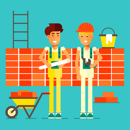 A smiling builders wearing a hard hat buiding a brick wall. A Contemporary style with bright palette. Vector flat design illustration.