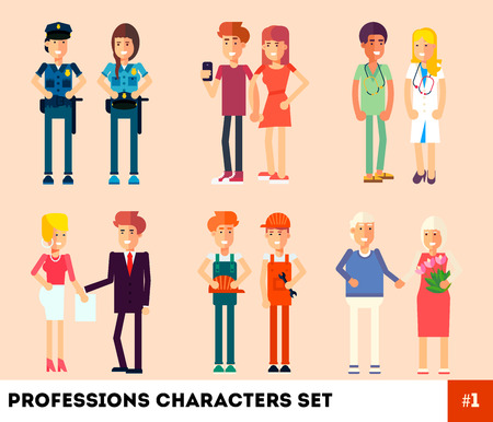 correspondent: People, professionals, occupation. Professions Character. Flat Design. Couples at work. Vector illustration. Policeman, builders, doctors, reporters, grandparents, news anchors.