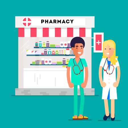 dispensary: Cool medidicine and pharmacy concept with pharmacy store and two yuong doctors isolated on a specific background. Flat Vector illustration.