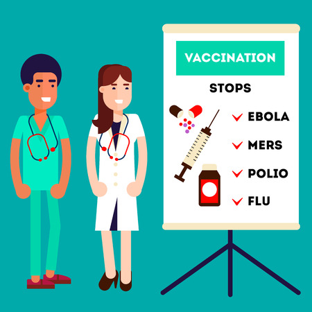 flu vaccine: Smiling male and female doctors near the clipboard in doctor giving advice concept against virusis and pro vaccination. Flat design.
