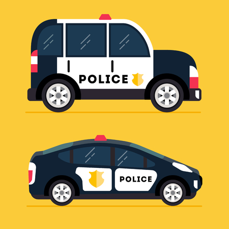 car side view: Vector Modern Police Car. Side view. Modern flat style illustration. Icon set isolated on trendy yellow background