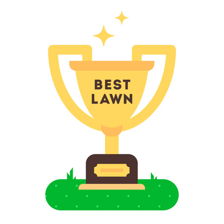 sod: The winner cup for best green grass lawn producer. vector flat design icon. Easy to edit. Cartoon style illustration.