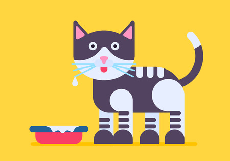 awaiting: Cute and funny cat with the milk mustache standing near the bowl. Vector flat illystration isolated on a yellow background. Cool and nice poc with good colores.