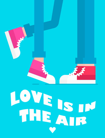 keds: The card of couple feet standing near each other and sweet text in above. Vector flat illustration. Great idea for love concept. Text could be easile removed