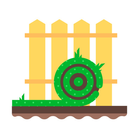 sod: The roll green grass lawn near the femce. vector flat design icon. Easy to edit. Cartoon style illustration. Illustration